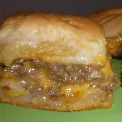 Game Day Hamburger Sliders    3 dozen Hawaiian rolls  2 lb ground beef  2 c shredded cheese  2 cup mayo  2 pkg lipton onion soup mix  2 tsp garlic powder  Mustard.  Brown beef. Drain. Mix together remaining ingredients. Spread 1 Tbsp between each bun. Bake 350°10 min. Freezes well.