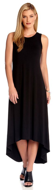 A flattering hi-lo hem gives this jersey knit dress a the comfortable yet chic silhouette.