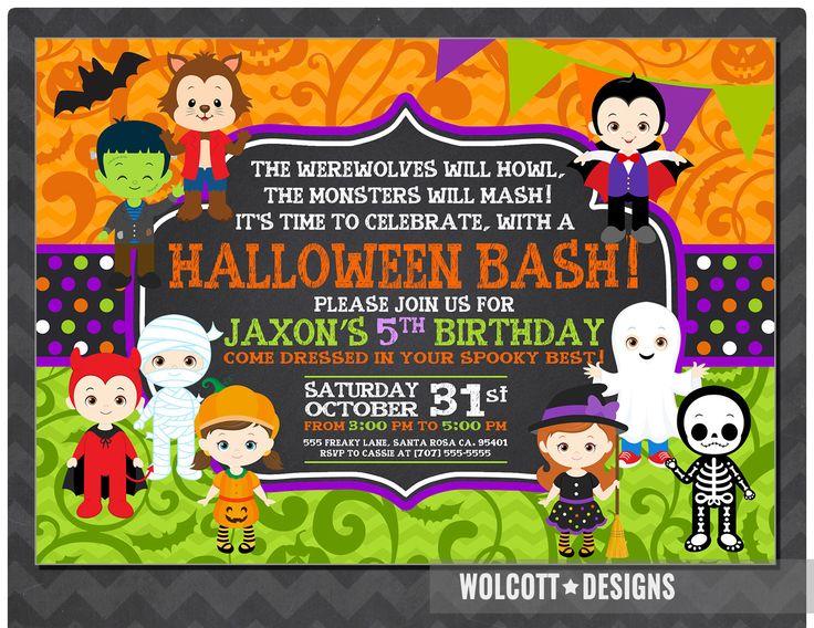 Halloween Birthday Invitation, Kids Halloween Party Invitation, Costume  Partyu2026