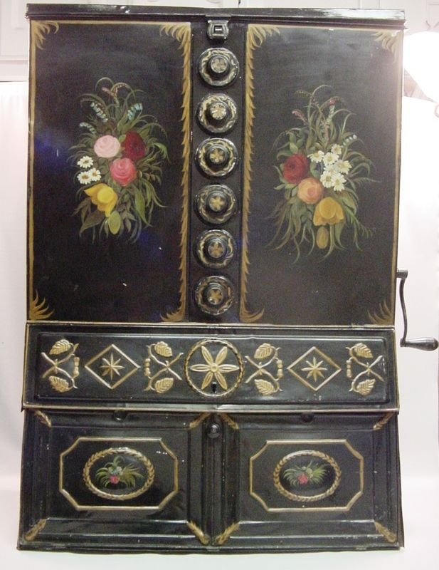 "Antique Victorian Tin Toleware 40"" Pantry Cabinet Coffee Store Grinder w.Sifters"