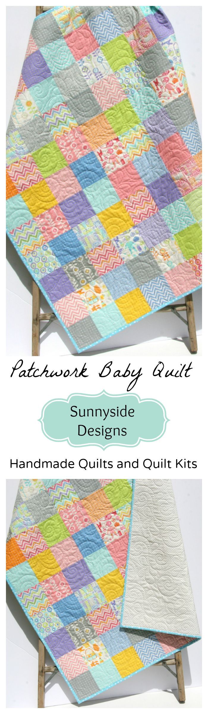 Baby Quilt Kit, Pastel Colors Gender Neutral Boy or Girl, Patchwork Baby Quilt, Handmade Quilt for Sale, Baby Quilt Kit, Easy Simple Patchwork Quilt Kit, by Sunnyside Designs