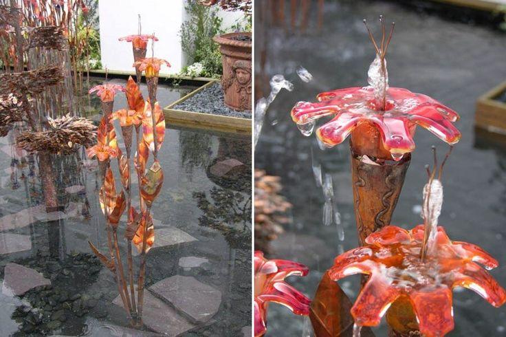 Springvand til haven i kobber og glas