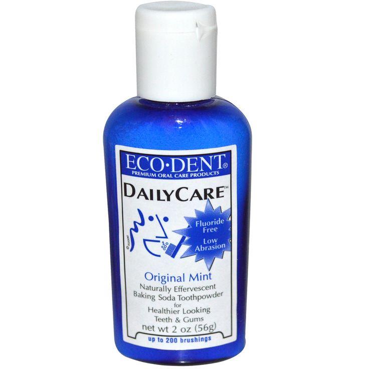 Eco-Dent, зубной порошок с пищевой содой, с запахом мяты, 2 унции (56 г) - •Природный шипучий зубной порошок с пищевой содой для здоровых зубов и десен