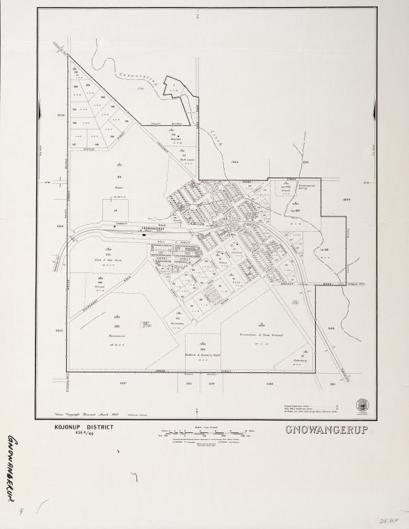 GNOWANGERUP Cadastral map showing land use. Part of collection: Townsite maps, Western Australia. https://encore.slwa.wa.gov.au/iii/encore/record/C__Rb1847819
