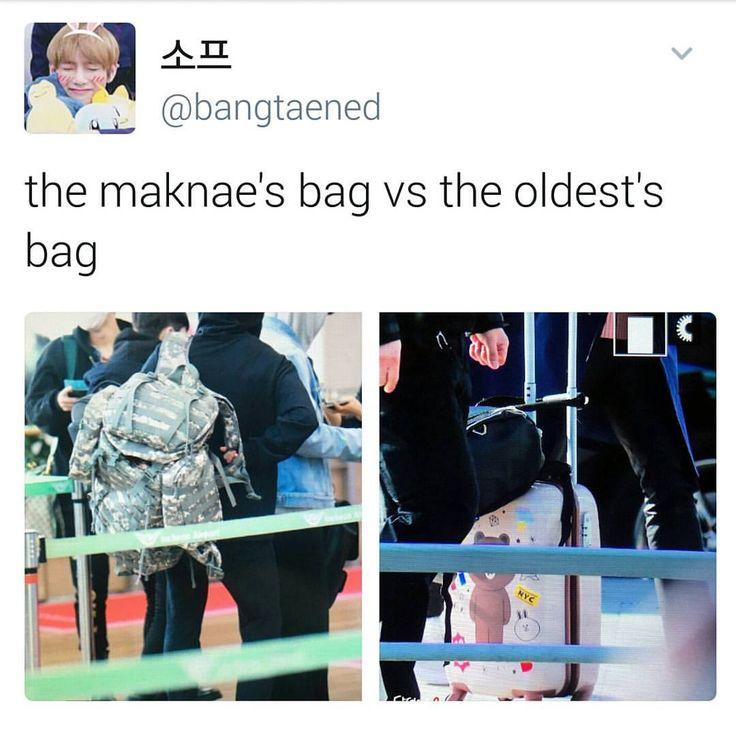"""697 Me gusta, 2 comentarios - BTS MEMES (@dirtyoongi) en Instagram: """" Jins suitcase is so cute ma hearteu #BTS"""""""