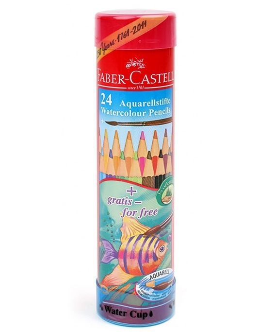 Faber-Castell Watercolour Pencil Round Tin 24 Water Soluble  #FaberCastell