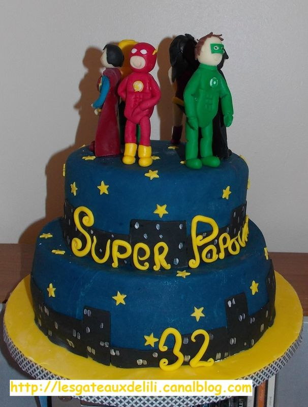 Gâteau Ligue des Justiciers Superman, Batman, Green Lantern, Wonder Woman, Aquaman, Flash