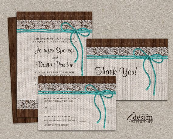 DIY Printable #Rustic #Turquoise #Wedding Invitation Sets With #Burlap And Lace On Brown Barn Woon By iDesignStationery On Etsy. $23.50