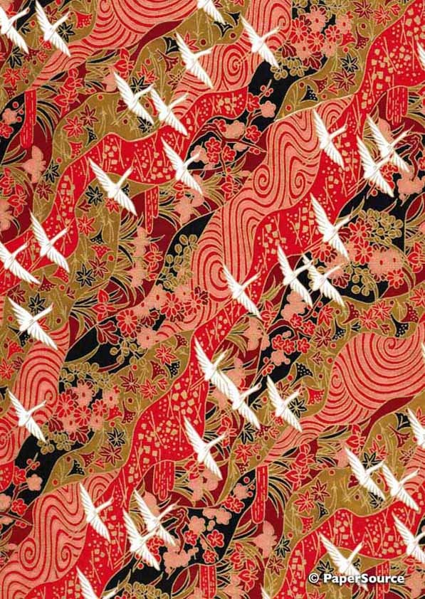Crane Design 03 - Japanese Yuzen Chiyogami Paper