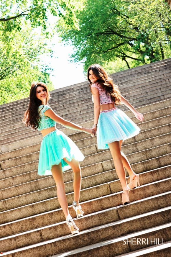 Kendall Jenner and Kylie Jenner Model Sherri Hill Spring ...