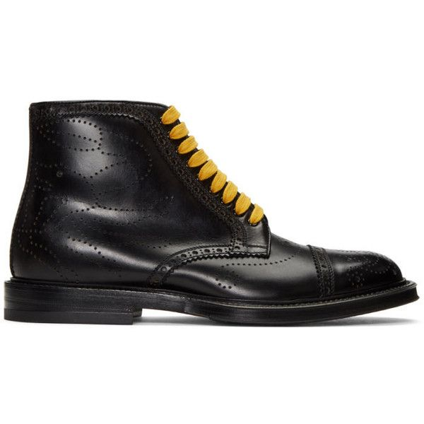 Gucci Black Formal Lace-Up Boots ($1,120) ❤ liked on Polyvore featuring men's fashion, men's shoes, men's boots, black, mens black lace up boots, mens leather lace up boots, mens black leather boots, mens zipper boots and mens leather boots