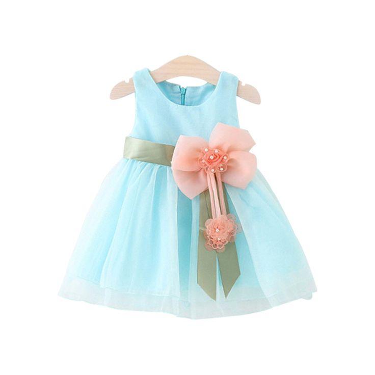 2016 летние детские платья для девочек одежда Принцесса бант свадьба платья дети день рождения платье дети для 0-3Г