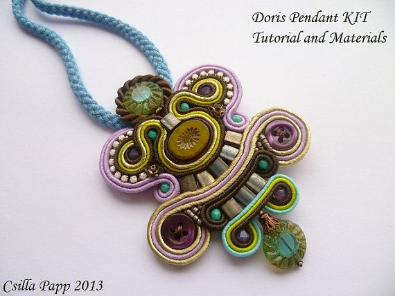 Soutache pendant diy kit tutorial and materials in brown levander turquose lime and pistachio green