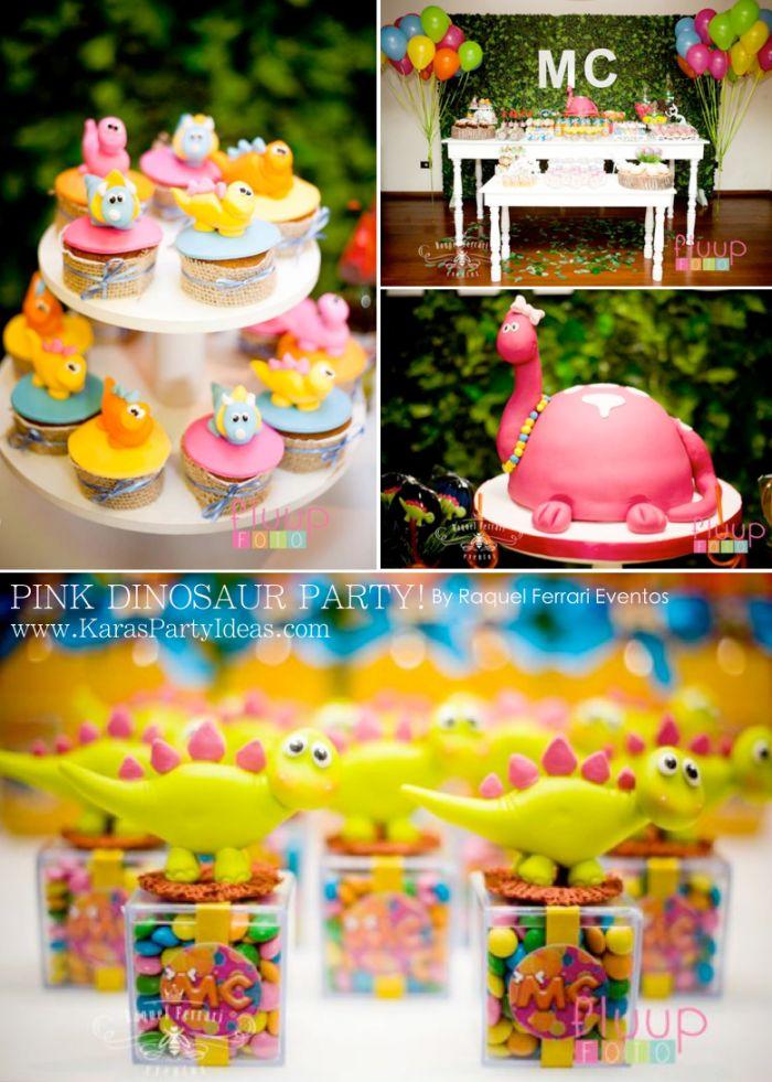 Pink Dinosaur Birthday Party for girls via Kara's Party Ideas KarasPartyIdeas.com
