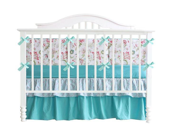 Teal Green Flowers 7pcs Crib Set Baby Bedding Set Crib Bedding Set Girl  Nurse