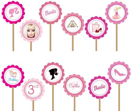 Barbie Silhouette Hot Pink- Printable DIY Party Circle Cupcake Toppers | designdream - Gift Giving on ArtFire