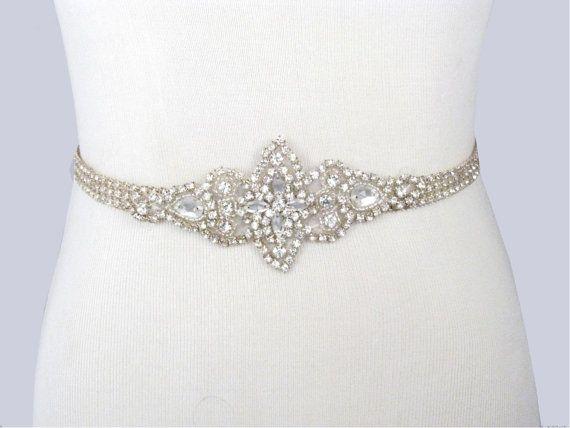 Wedding Dress Sash, Rhinestone Bridal Belt, Jeweled Beaded Crystal Dress Sash, 35 Satin Ribbon Options, Ivory Sash, Champagne Sash, Red Sash