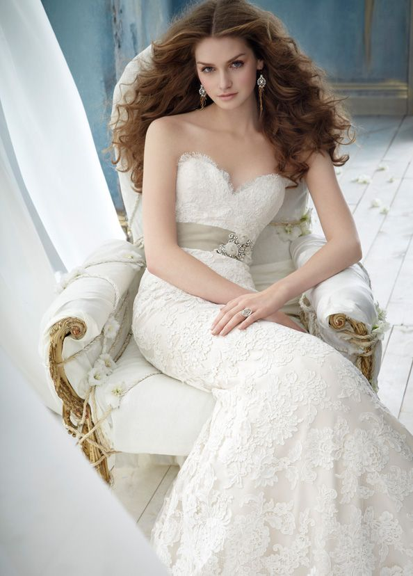 Jim Hjelm ivory alencon lace over champagne charmesuse modified A-line bridal gown strapless sweetheart neckline. mhampagne moire ribbon with crystal applique sweep train: Lace Weddings, Wedding Dressses, Idea, Lace Wedding Dresses, Jimhjelm, Dresses Style, Bridal Dresses, Jim Hjelm, Bridal Gowns