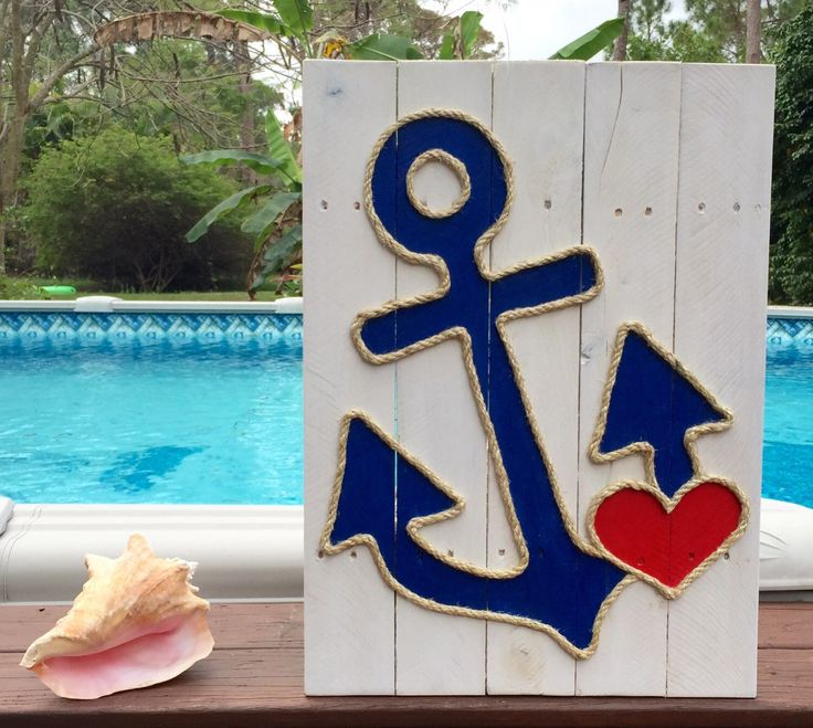 A personal favorite from my Etsy shop https://www.etsy.com/listing/224435523/handmade-anchor-with-heart-beach-pallet