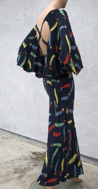 Ossie Clark Celia Birtwell feather print dress