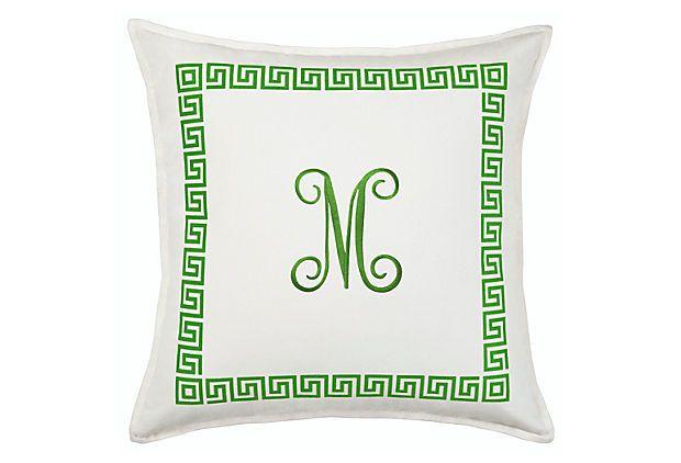 Greek Key Monogram 20x20 Pillow Green