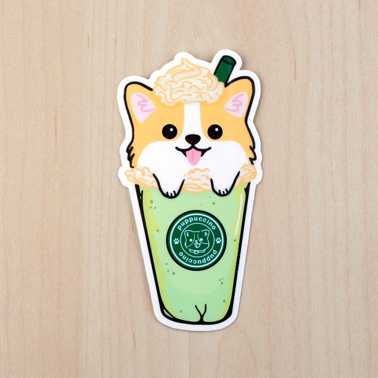 This listing includes 1 X corgi puppuccino sticker of your choice Approximate Dimension: height: 4.5 inches These stickers are digitally drawn by me. Each one is then printed, die-cut, and laminated u