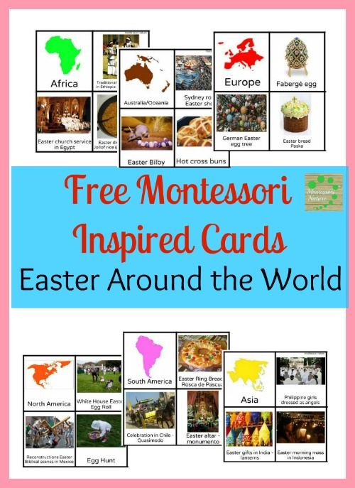 Montessori Easter Around the World Printable Flashcards contain six sets of cards with photos representing different Easter traditions of Australia/Oceania, South America, North America, Europe, Africa and Asia with short commentary. Montessori Nature Blog