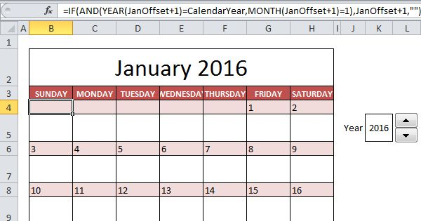 This example describes how to create a 2016 calendar in Excel (or 2017 calendar, 2018 calendar, etc). If you are in a hurry, simply download the Excel file.