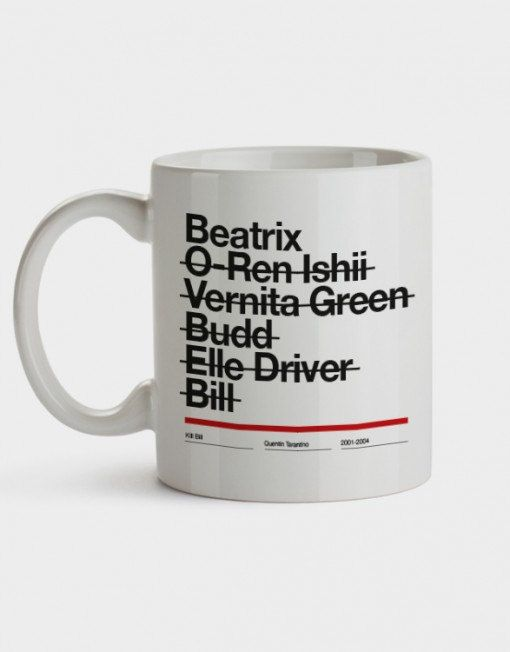 Kill Bill Taza Mug Tarantino Beatrix Uma Thurman Wall Art Print Illustration Helvetica Graphic Design film Cine