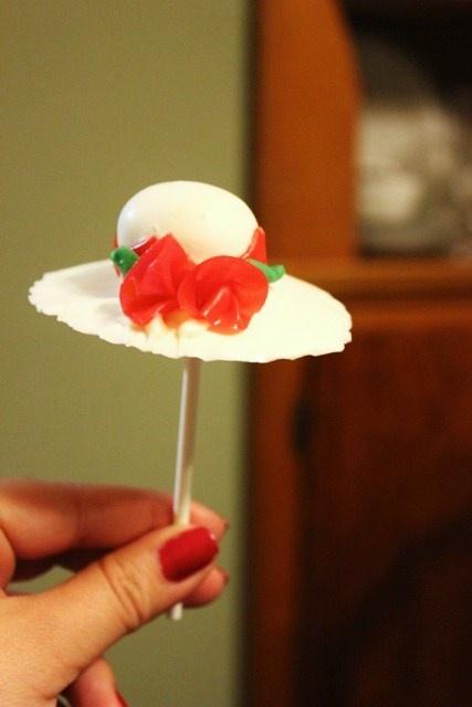 Cake pops - in Kentucky Derby Hat form.    Made by Rachel Davis