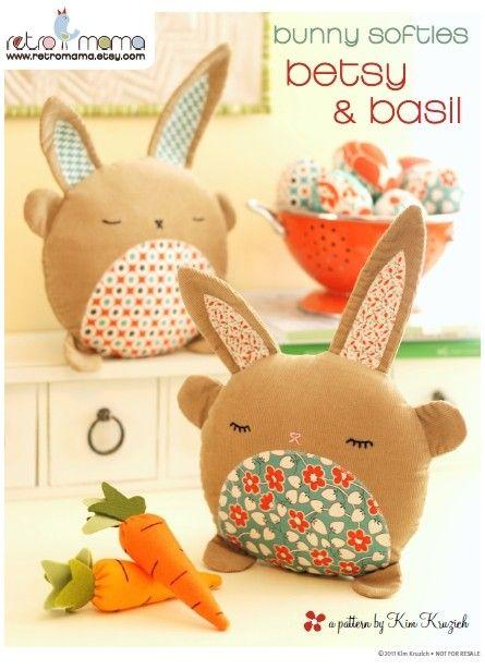 PDF Sewing Pattern Betsy & Basil Bunny Softies