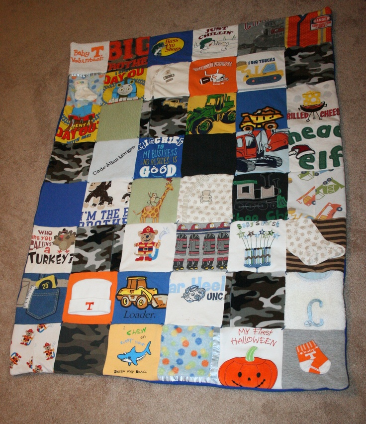 Memory Quilt Boy Using Baby Clothes Six Inch Squares