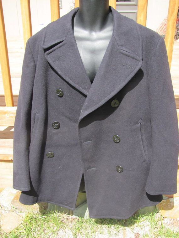 Vintage Navy Sailor Wool Pea Coat