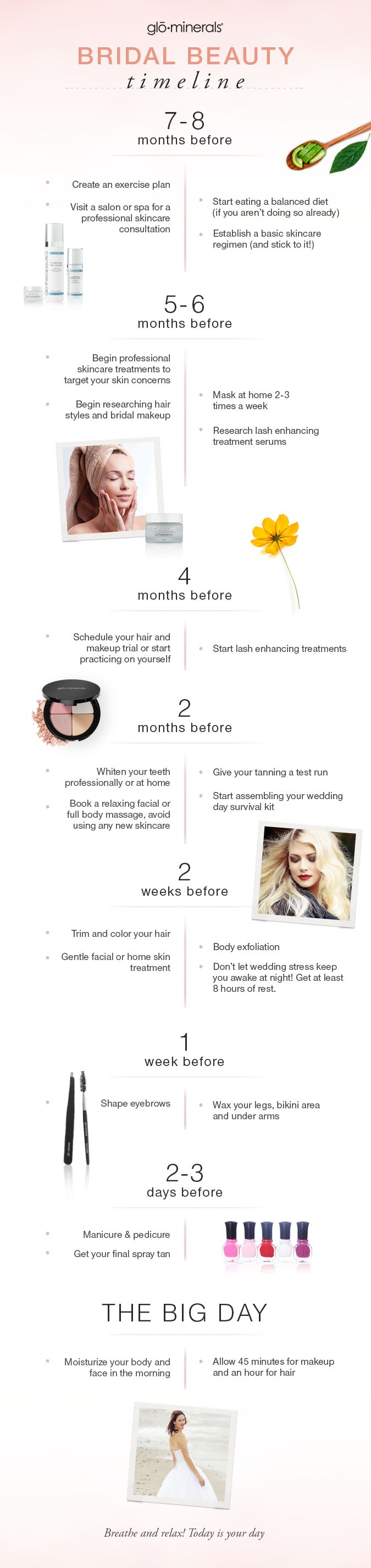 Infographic with all the steps you need to acheive that perfect bridal glo on your wedding day! #bridalglo #weddingmakeup #bridetobe
