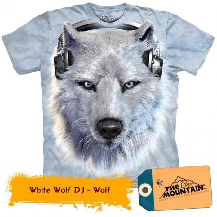 Tricouri The Mountain – Tricou White Wolf DJ
