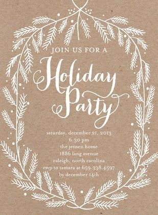 Crafted Branches   Flat Holiday Party Invitations In White | Ann Kelle