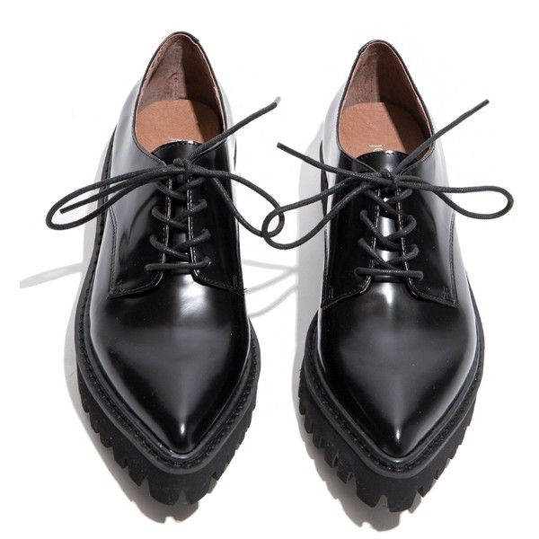 Jeffrey Campbell Seymour Black Oxford Shoes ($139) ❤ liked on Polyvore featuring shoes, oxfords, flats, обувь, black shoes, chunky platform shoes, wingtip shoes, black wingtip shoes and platform flats