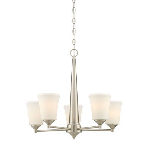 251 First Selby Brushed Nickel Five Light Chandelier With Etched Opal Glass Shade On SALE