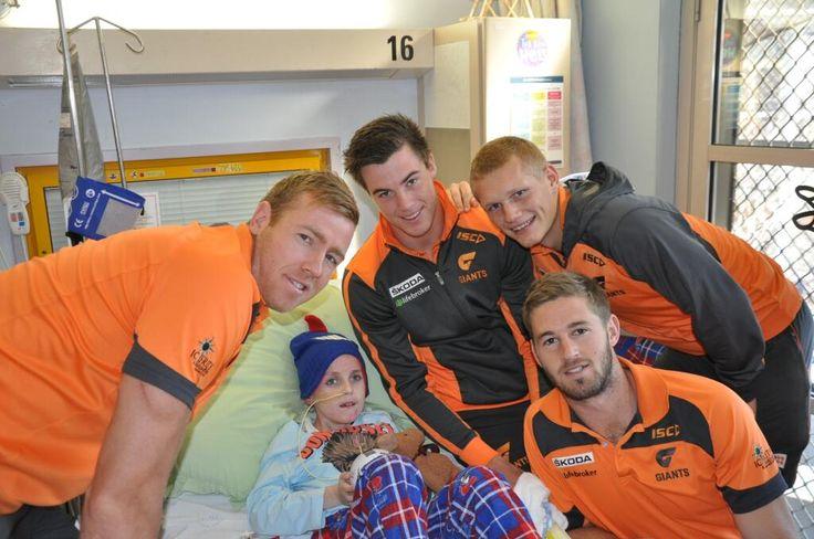 Callan Ward, Jonathon Giles, Adam Treloar & Lachlan Plowman at the Children's Hospital at Westmead in NSW