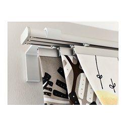 IKEA - KVARTAL, Barra para cortina, 3 guías, Si necesitas alargar el riel, utiliza los conectores que se incluyen.El riel se puede montar a la pared o al techo utilizando los herrajes apropiados, que se venden por separado.El riel se puede cortar a la longitud deseada con una sierra para metales.Puedes añadir este riel al que ya tengas para crear una solución doble.