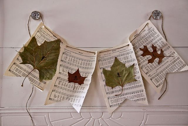 sheet music + leaves ...super cute fall banner to hang on the mantel.