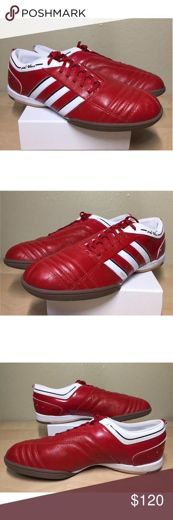 Adidas Adinova Red Indoor Soccer Sz 10 05/09 2009 2009 Adidas Adinova Red Indoor Soccer Shoes Size 10 05/09  These shoes are pre owned , but only wear used one time, they are in great condition and still smells like a new shoe, the leather is still hard and in good shape, only some marks on the shoe noticeable in the pictures.   The box is not the original box The shoe is a size 10 but will fit a 10.5  SEE PICTURES FOR MORE DETAILS adidas Shoes Athletic Shoes