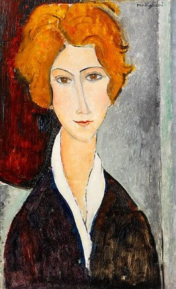 Amedeo Modigliani - Portrait de Femme 1918. I love this one, probably her red hair, I've always loved red hair.