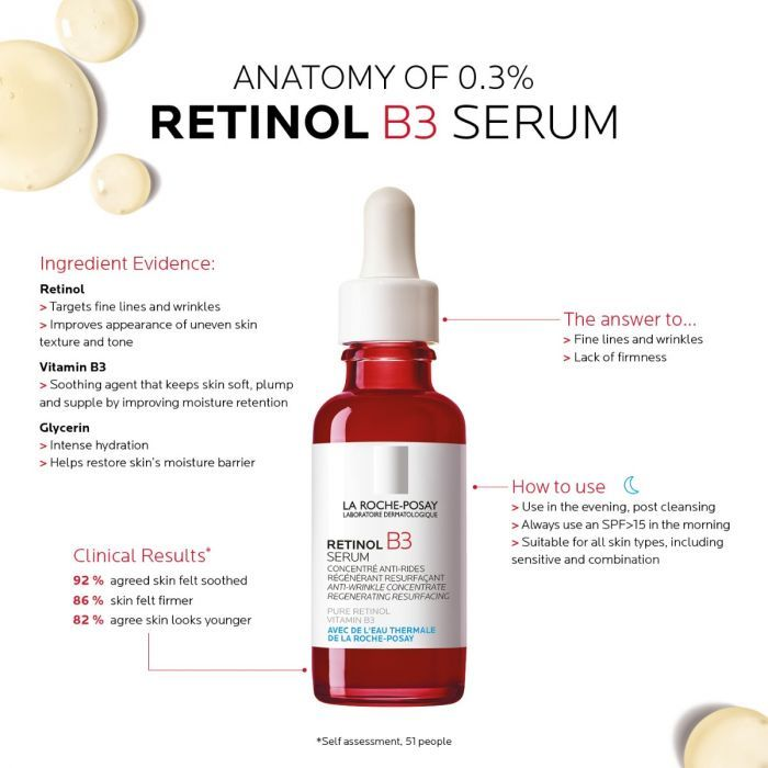 0 3 Retinol Vitamin B3 Serum Face Care La Roche Posay Retinol Serum Face Serum