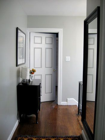 Seven Cheap Ways To Crisp Up A Room | Young House Love: The Doors, Houses, Hallways, Bedrooms Colors, Dark Wood Floors, Paintings Colors, Living Room, Stonington Gray, Gray Wall Colors