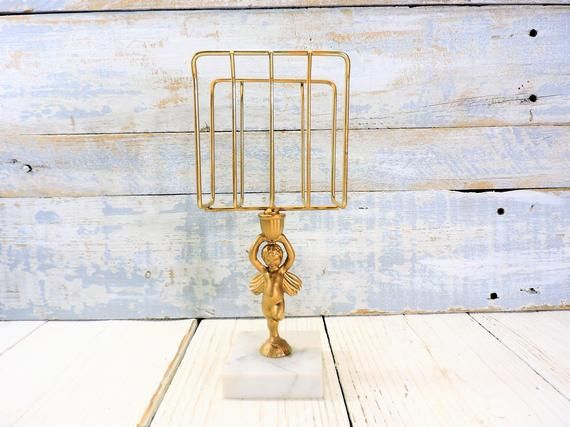 Gold Napkin Holder Vintage Cherub Base Book Stand Bathroom Vanity Hand Towel Rack French Country Decor Marble Base w/ Cherub Napkin Display
