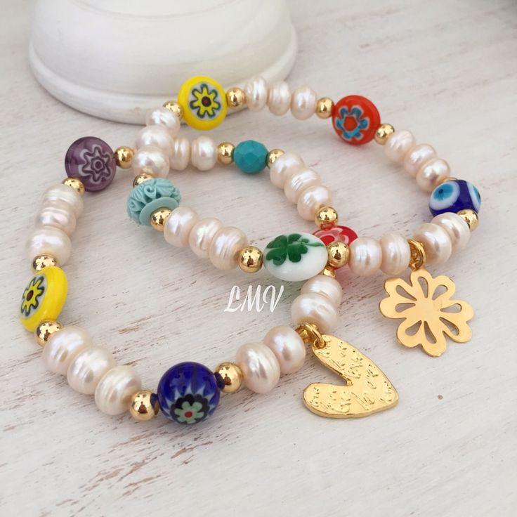 Pulseras de perlas y murrinas by Luz Marina Valero