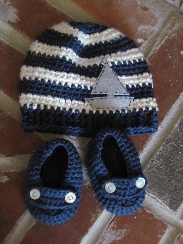 Newborn Crochet Nautical Hat and Loafers Matching Set. $35.00, via Etsy.