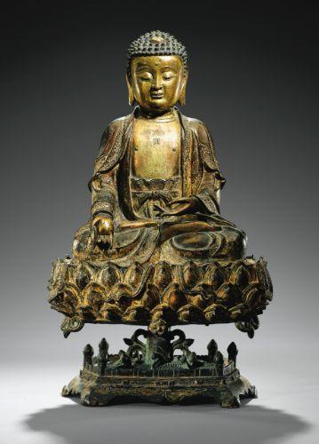 Statue de Bouddha en bronze doré <br>chine, dynastie ming, XVII<SUP>E</SUP> siècle | Lot | Sotheby's