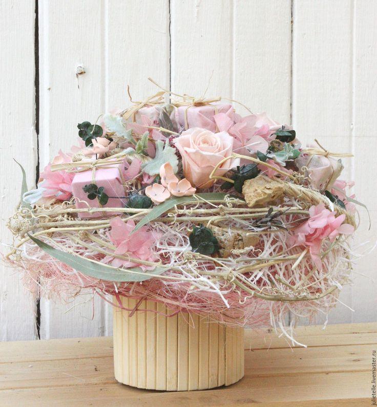 Купить Композиция для интерьера - бледно-розовый, композиция из цветов, цветы для дома, украшение интерьера, подарок